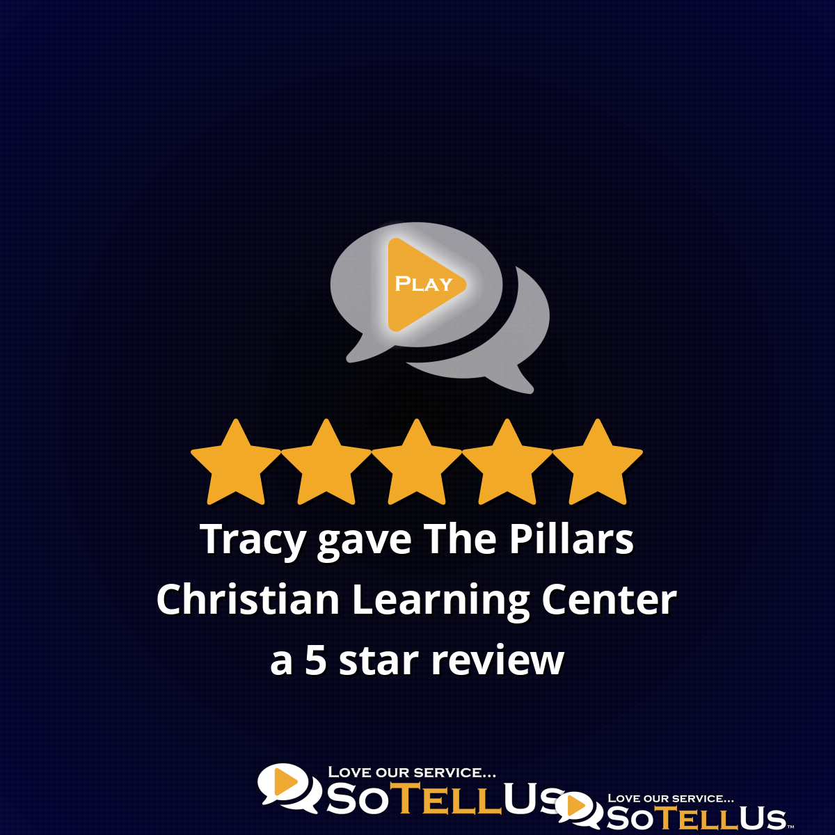 Tracy J gave The Pillars Christian Learning Center a 5 star